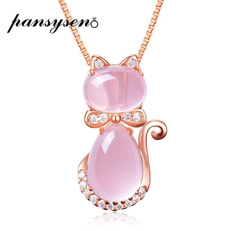 PANSYSEN Romantic Cute Rose Quartz Pendant Necklaces For Women 925 Silver Jewelry Necklace Wedding Party Fine Jewelry Gifts