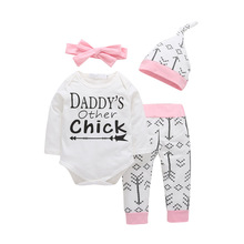 Girls Sets Clothing Autumn Pink Bowknot Headband+Hat+Romper+Arrow Pants 4pcs/Set Toddler Fall Clothes Baby Girl