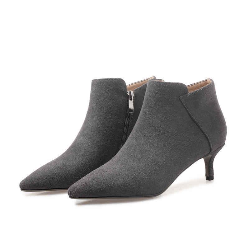 MORAZORA duże rozmiary szpiczasty nosek szpilki buty ciepła, krótka pluszowe trzewiki dla kobiet jesienne zimowe krowy kozaki zamszowe