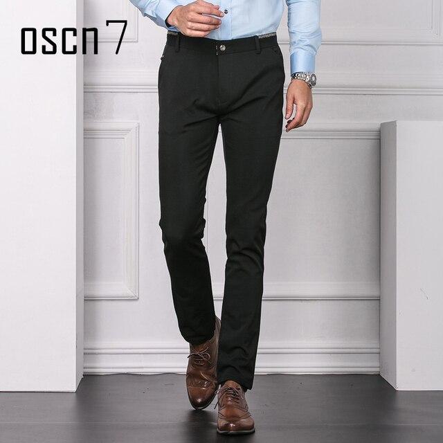 3b7e1ed242354d OSCN7 Zwart Effen Heren Broek Formele Business Leisure Office Broek Mannen  Plus Size Fashion Mens Jurk