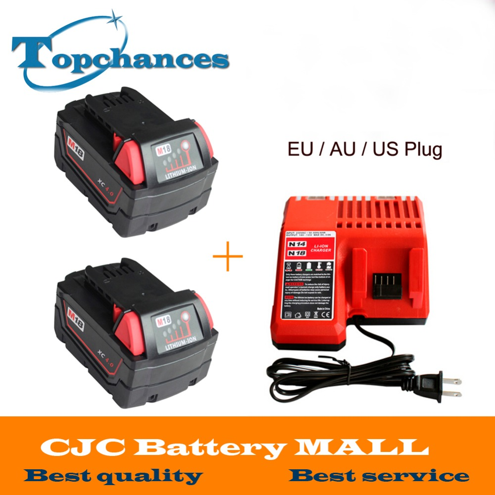 2x High quality 18V Li Ion 4000mAh Replacement Power Tool Battery for Milwaukee M18 XC 48