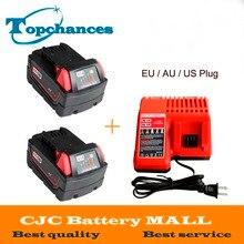 2x de Alta calidad de 18 V Li-Ion 4000 mAh Reemplazo De Herramientas de Alimentación Batería de Milwaukee M18 XC 48-11-1815 M18B2 M18B4 M18BX Li18 + cargador