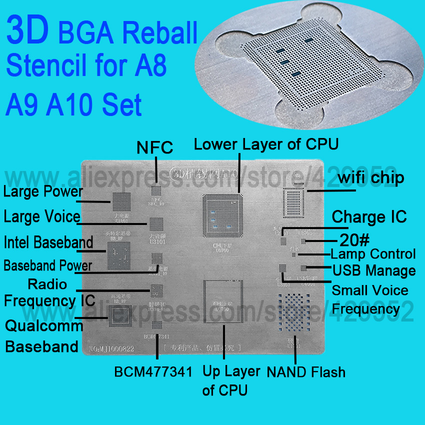 3D IC Chip BGA Reballing Stencil Kits Set Solder template for iphone A8 A9 A10  high quality latest laptop xbox ps3 bga 170pcs template bga kit 90mm for chip reballing