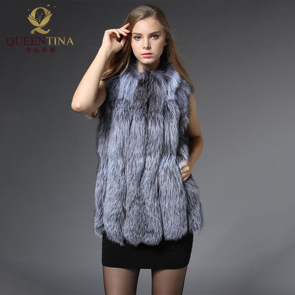 2018 New Women Real Genuine Silver Fox Fur Coat 70cm Long Sleeveless Vest Waistcoat Gilet Winter Warm Real Fox Fur Vest Female