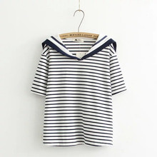 Striped Shirt Women 2016 Summer Short Sleeve Preppy Style Sailor Collar tshirts cotton women