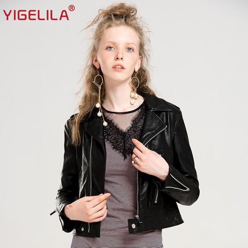 YIGELILA 2019 новейшая Осенняя Женская мода крутой отложной воротник длинный рукав черный тонкий короткий мото Байкер PU куртка пальто 9604