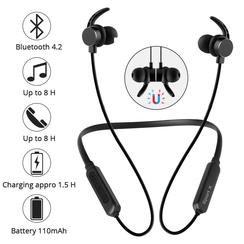 Earphones Wireless Bluetooth Headphones Magnetic Headset With Microphone Waterproof Sports Earbuds For Phone Xiaomi Meizu Gaming fashion wireless bluetooth 4 2 stereo sports in ear earbuds magnetic headset with microphone for android samrtphone