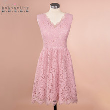 New Arrival Pink Lace Short Evening Dress With Pocket Sexy Eyelash Lace Evening Gowns Short Abendkleider Robe De Soiree Curto