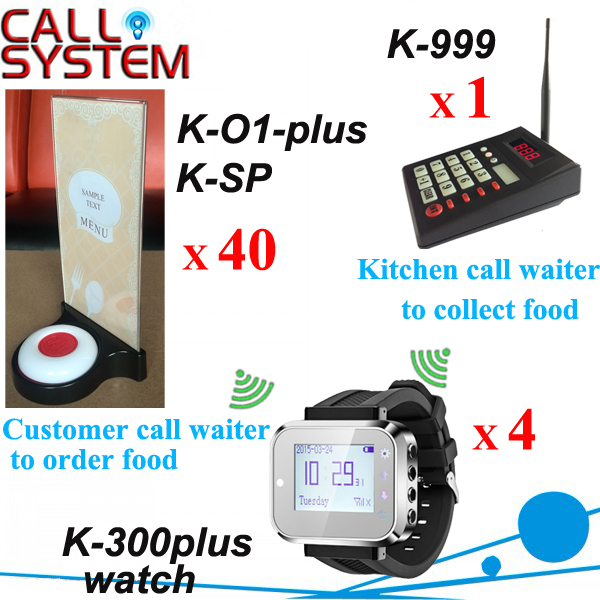 Guest call waiter & Kitchen call waiter system with 1 keypad 4 wrist watch 40 table button menu holder boston kitchen braintree menu