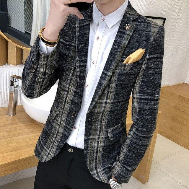 Men Blazer Slim Fit Designs Korean Elegante Male Plaid Blazer Masculino Tweed Button Wedding Casual mens Blazer Jacket Suit 1