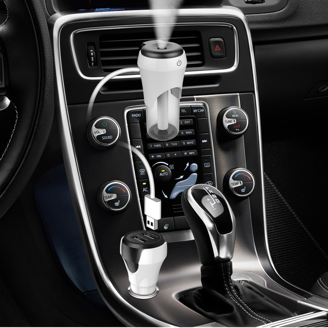 New Mini Portable Air Humidifier for Car Office Home Essential Oil Diffuser USB Aroma Diffuser car air purifier+phone charging 3