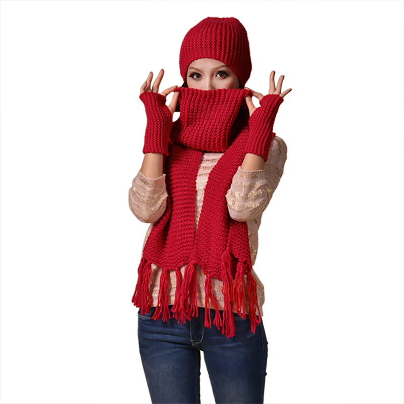 3-piece Suit Scarf Hat And Gloves 2018 Women Knitted Warm Girls Thicken Knitting Skull Caps Beanie Ball Hats Glove Sets F2