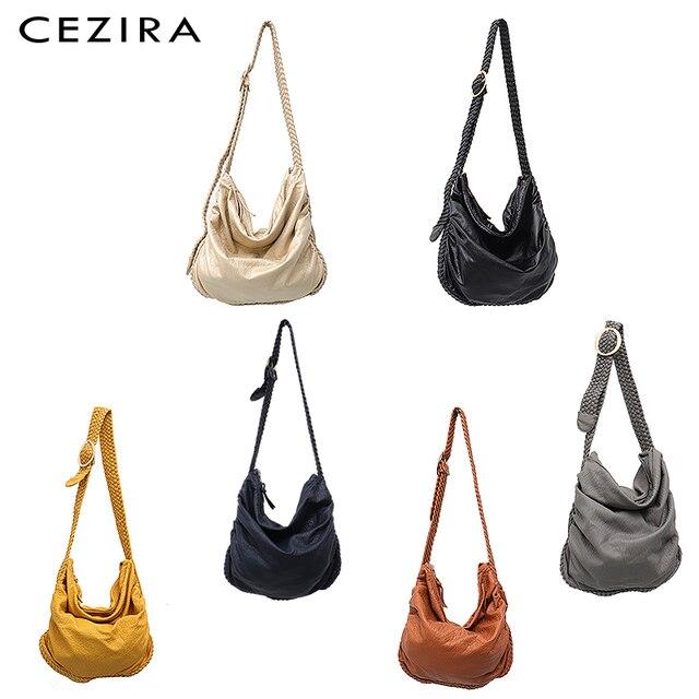 CEZIRA Big Soft Casual Women Bags Girl Wash PU Leather School Handbag Ladies Adjustable Woven Buckle Belt Messenger&Shoulder Bag 1