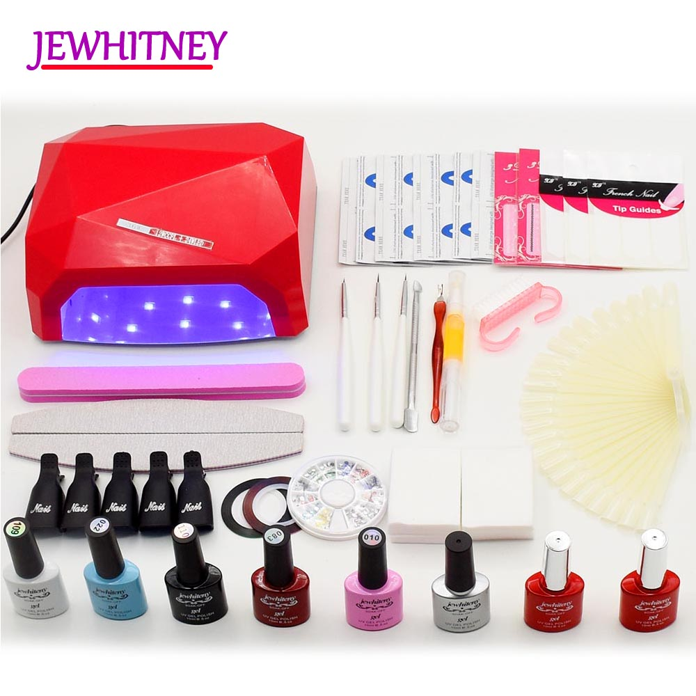 JEWHITENY 6 color uv gel polish Nail Set 36w Nail dyrer uv led lamp manicure Kit nail art diy tools sets kits nail Gel Sets nail art salon supplies kit tool uv gel nail polish diy makeup full set manicure set free shipping