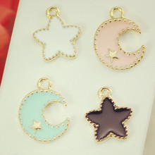 Wholesale 50pcs/lot Enamel Alloy gold jewelry moon and the stars pendants charms for bracelet necklace DIY jewelry making