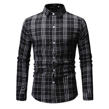 New Autumn Fashion Brand Men Clothes Slim Fit Long Sleeve Shirt Plaid Cotton Casual Social Plus Size M-3XL 11