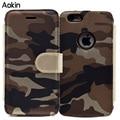 Aokin camuflagem phone cases para iphone 7 5S se 6 6 plus para galaxy s7 edge j5 j7 padrão virar carteira de couro para o iphone 7 plus