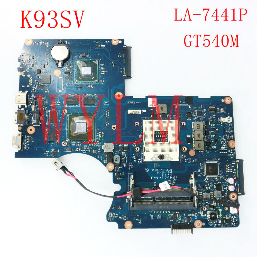 K93SV GT540M 1GB USB3.0 mainboard For ASUS LA-7441P K93SV X93S X93SV K93SV Laptop motherboard 100% Tested Working free shipping free shipping k42dr mainboard rev2 3 for asus a42d k42d k42dy k42dr laptop motherboard tested working