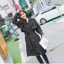 [XITAO] NEW autumn Korean casual style solid color double breasted long wide waist form adjustable waist female trench CMB-026
