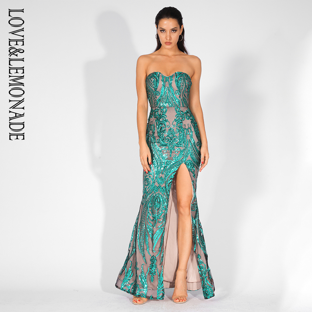 Love Lemonade Sexy Strapless Cut Out Geometric Pattern Sequins Bodycon Maxi Dress LM81342 2 GREEN