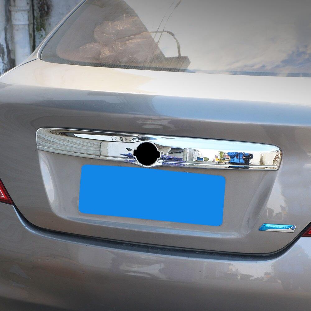 Jameo Auto Voiture ABS Chrome Arrière Tronc Protection Couverture Tronc décoration Garniture Autocollants pour Nissan New Ensoleillé 2012-2016 pièces