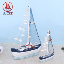 LUCKK Mediterranean Style Retro Sailboat Model Home Decor Wood Crafts Shell Birthday Gift Kids Marine Ship Ornaments Figurines