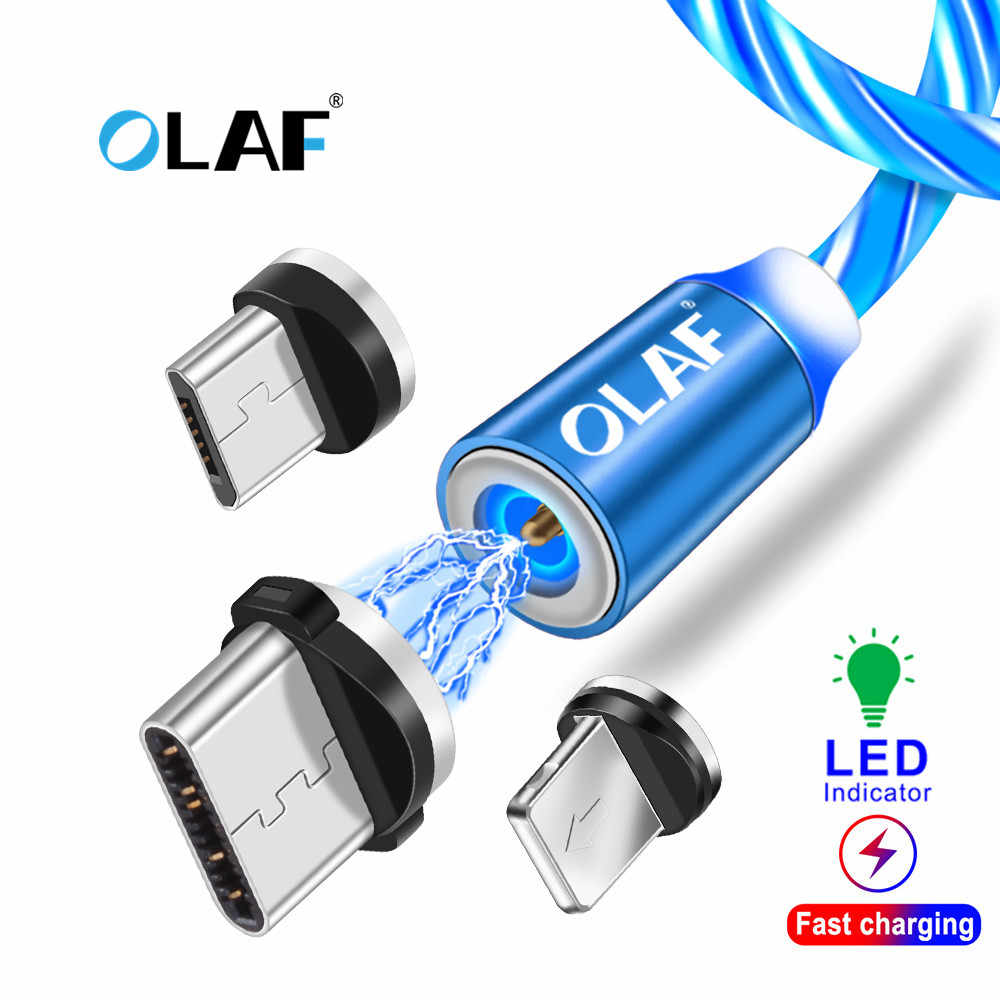 La OLAF LED magnético Cable USB para iPhone Xs Max 8 7 USB tipo C Cable cable Micro USB para Xiaomi Samsung Huawei USB C