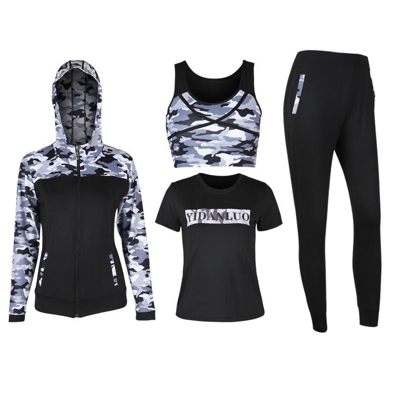 Hot 5 en 1 ensemble femmes Fitness Yoga ensemble Sport soutien-gorge et T-shirts et veste et pantalons et Shorts Gym vêtements Sport porter course en plein air jogging