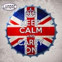 Metal Tin Signs Keep Calm Carry On Beer Bottle Cap Wall Plaque Gear Cap Shape Bar