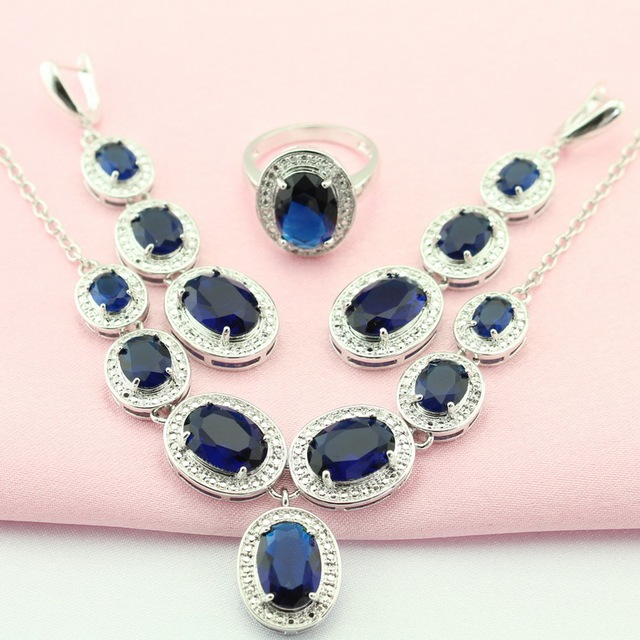 Blue Round Stone Silver Plated Jewelry Sets Crystal For Women maxi Jewelry Around The Neck Necklace/Earrings/Ring Free Gift Box