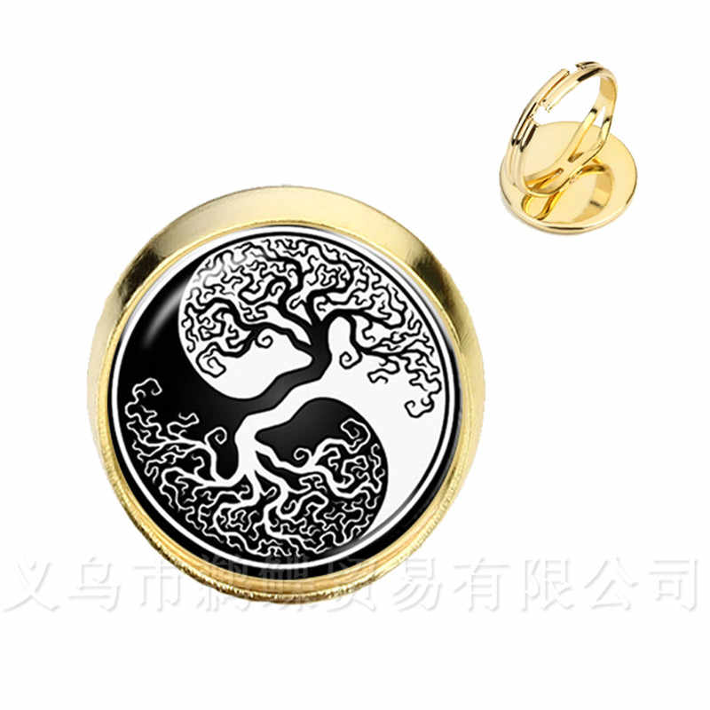 Yin Yang Glass Dome Rings Women Girls Jewellery Silver/Golden Plated Rings Natural Classic Style Symbolizing Harmony Jewelry