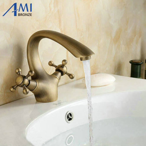 Antique Brass Faucets Bathroom Faucet crane basin Sink Mixer Tap goose neck 9021A 13 antique brass faucets swivel kitchen sink bathroom basin faucet mixer tap 9883a