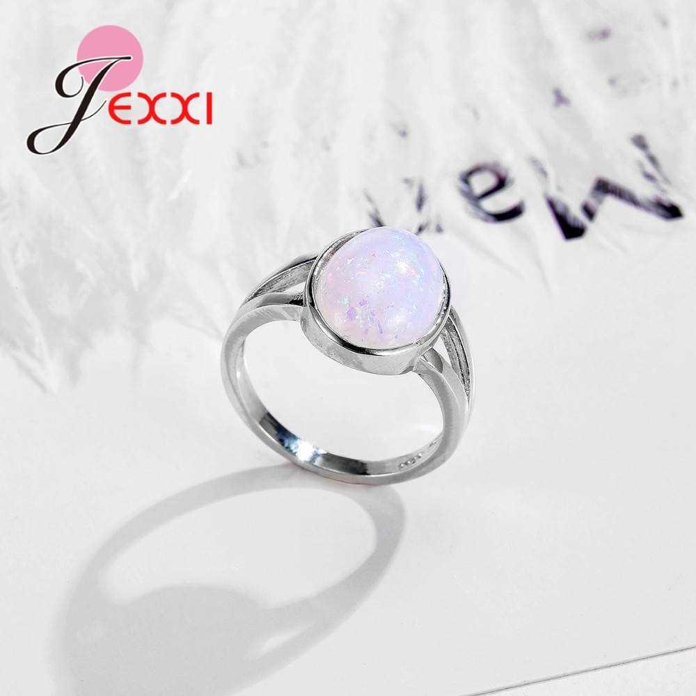 คลาสสิกสีขาวรูปไข่โอปอลแหวนสำหรับผู้ชายผู้หญิง Party อุปกรณ์เสริม 925 เงินสเตอร์ลิงงานแต่งงานแหวนเครื่องประดับ