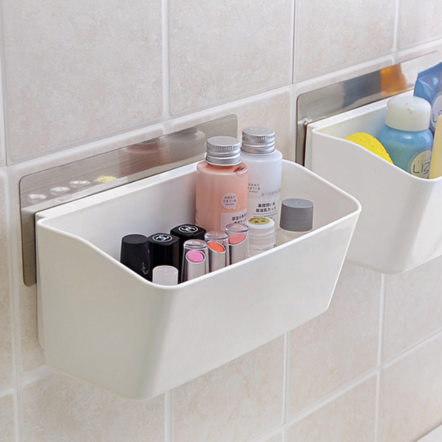 Makeup Organizer Seamless Paste Storage Box Bathroom Accessories Finishing  Basket Protect The Wall Tableware Container Rack