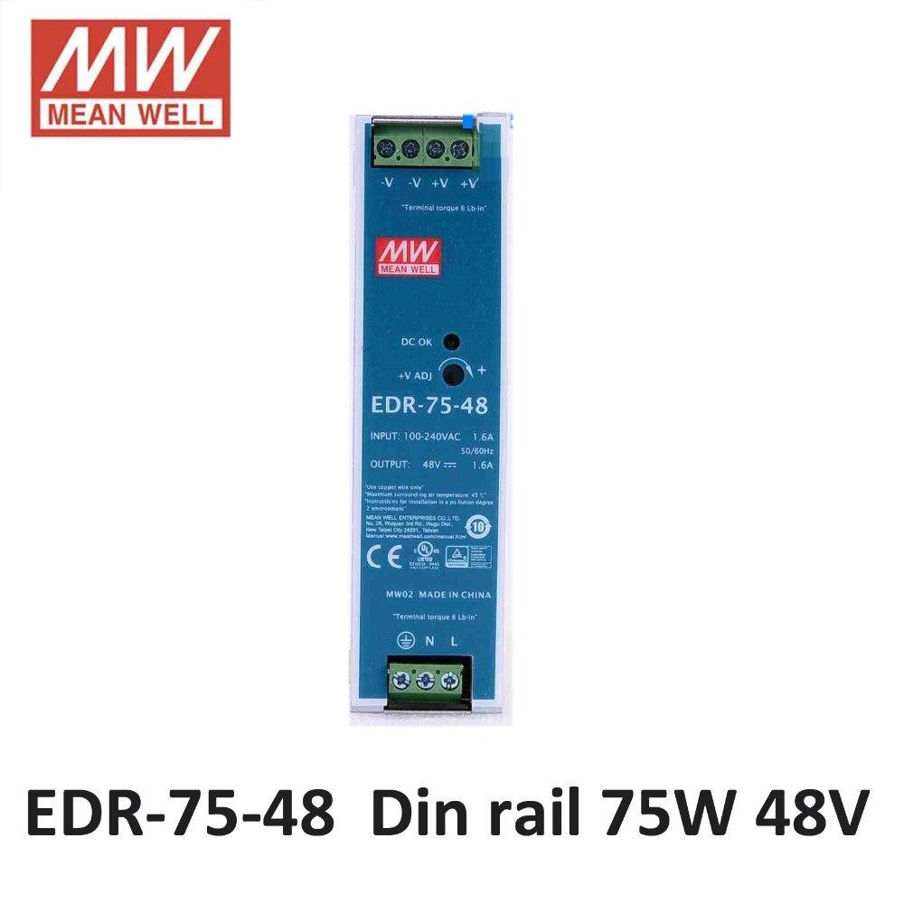 блок питания Mean Well EDR-75-48 AC/DC Mini размер 75 Вт 48 В 1.6A Промышленные Din-рейку Питания 48 В Meanwell Импульсный Источник Питания Драйвера