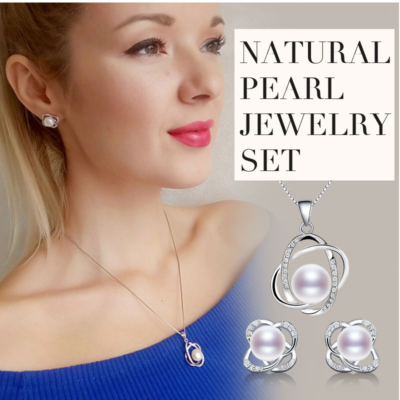HTB1JRerj8DH8KJjSszcq6zDTFXaE NYMPH Pearl Jewelry Sets Natural FreshWater Pearl Necklace Pendant Earrings Fine Trendy Wedding Party Gift Women RoseT202-H