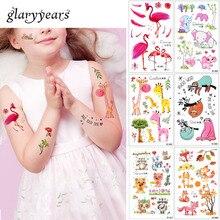 Glaryyears, 20 видов конструкций, 1 лист, Детская татуировка в виде животных, EC, временная, милая, мультяшная, лиса, енот, изображение, тату, наклейка для боди-арта, новинка