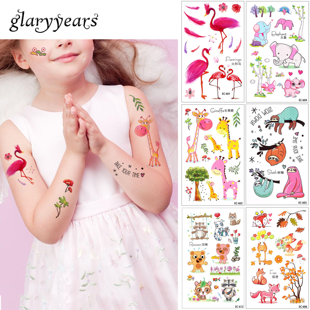 Glaryyears 20 Designs 1 Sheet Children Animal Tattoo EC Temporary Cute Cartoon Fox Raccoon Image Tattoo Sticker For Body Art New