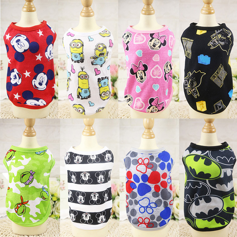 Cute Pet Dog Clothes Summer Cotton Puppy Shirts T Shirt Cat Vests Cartoon Costume Clothing For Small Pets Chihuahua Pug Yorkie