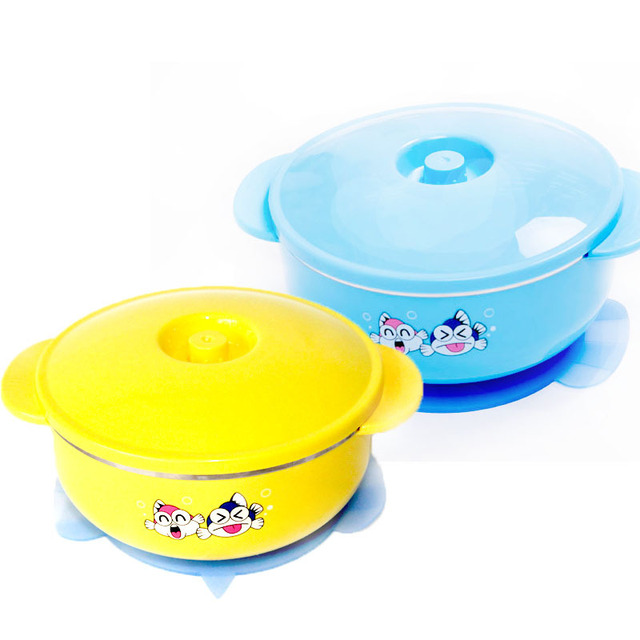 Baby supplies cartoon 250ml stainless steel baby suction cup bowl