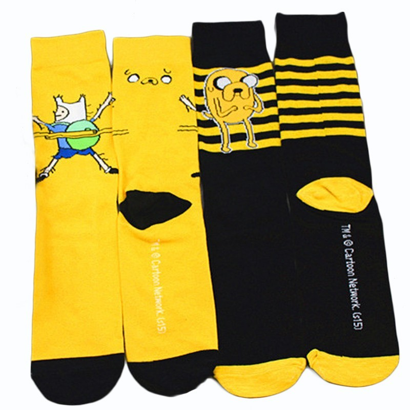Cartoon Comic Clown Cute Fashion Striped Women Yellow Black Sock Funny Harajuku Street Hip Hop Casual Cotton Socks Autumn Winter