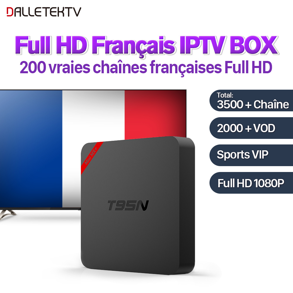 Dalletektv T95N Android 6.0 Full HD IPTV French Box with 1 Year SUBTV IPTV Subscription IPTV Arab France VIP Sports Live VOD