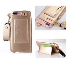 Fashion Mobile Phone Bag For iPhone 7 Pouch Neck Strap Lanyard Stand Case For iPhone 7 Plus with Card Holder for Girls and Women