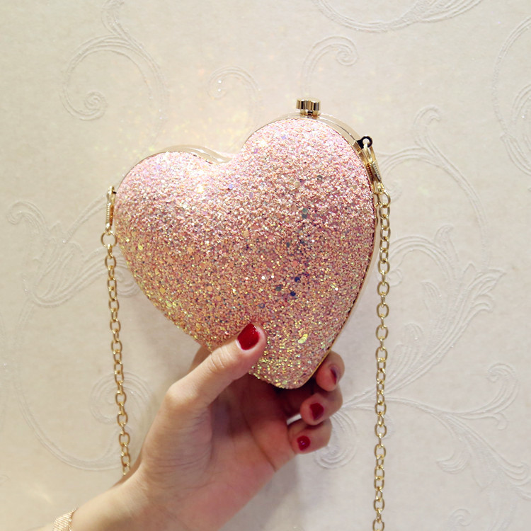 Angelatracy 2019 New Arrival Heart Shape Blingbling Sequins Lock Metal Frame Women Girl Day Clutches Evening Bag Crossbody Bags in Top Handle Bags from Luggage Bags