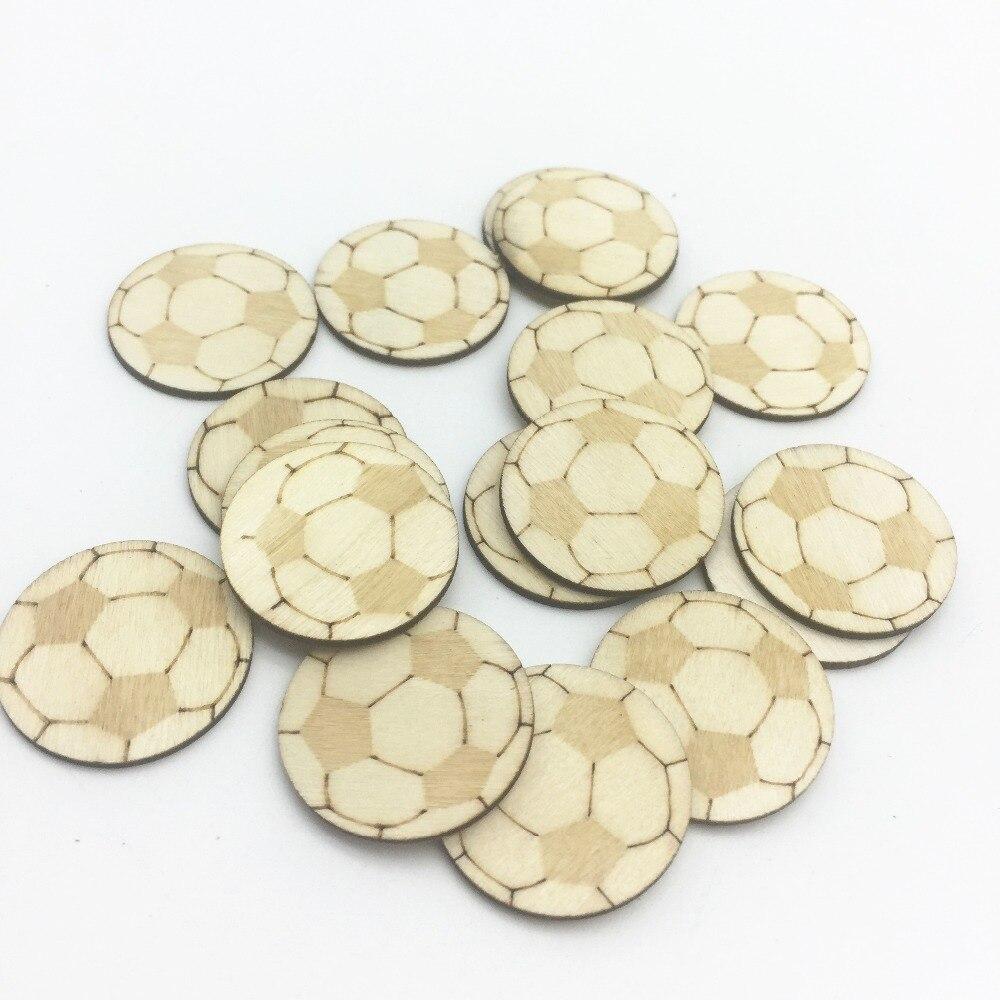 100 stks 25 MM 1 inch Natuurlijke Hout Cirkel Ronde Voetbal Chips - Feestversiering en feestartikelen