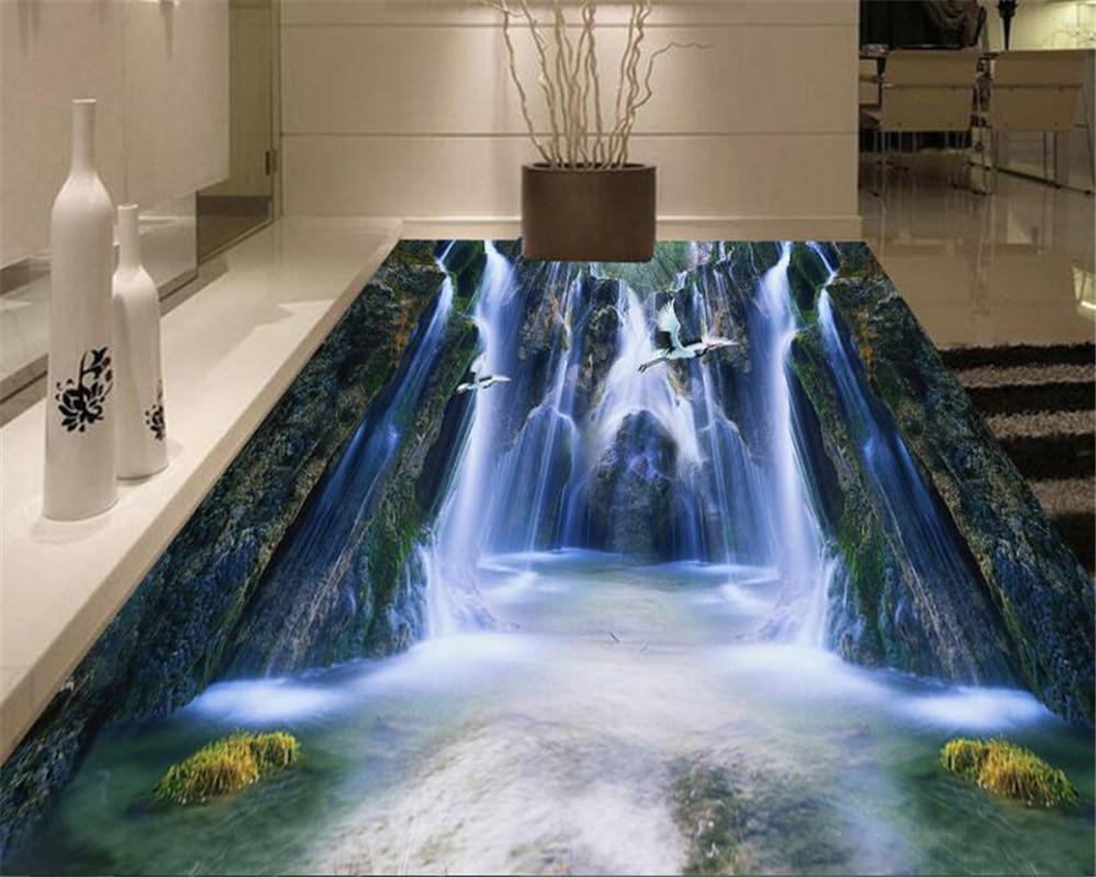 High - definition valley waterfalls tiles flooring three dimensional painting 3d waterproof self adhesive wallpaper coated