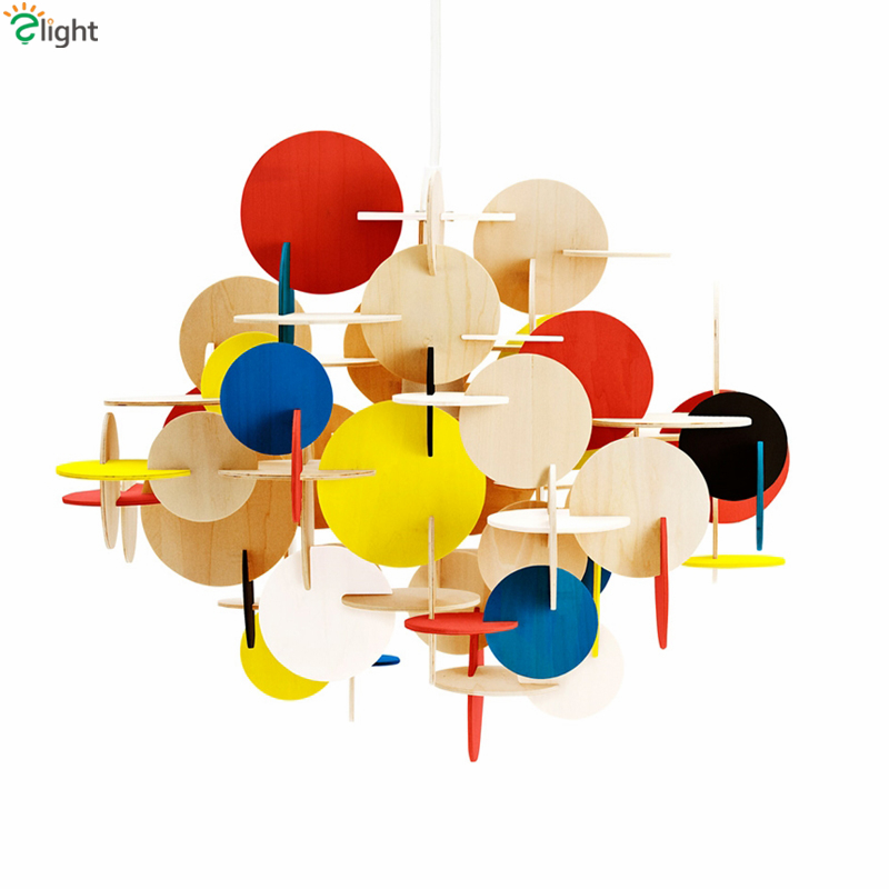 Nordic Normann Lau Wood E27 Led Pendant Light Children Room Cartoon Hand Sticthing Colorful and Wood Suspension Lamp