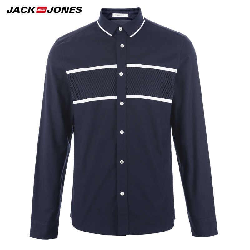 JACK & JONES Merk 2019 NIEUWE jongere toevallige 100% katoen turn-down kraag patchwork volledige lengte mouwen mannen shirts | 217105505