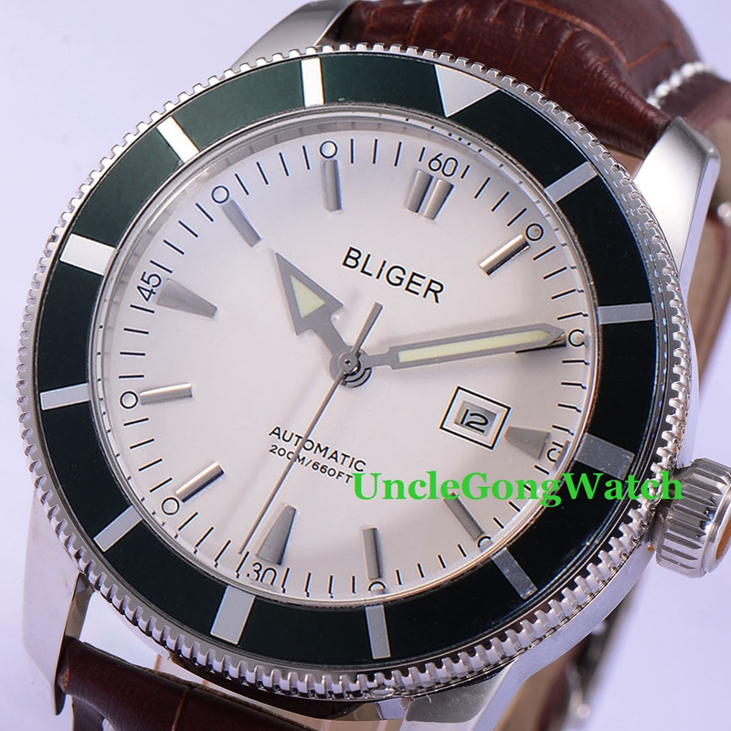 46mm Bliger Automatic Men Watch White Dial Green Rotatable Bezel Timepiece Brown Leather Strap Deployment Buckle Clock BA4601SWG