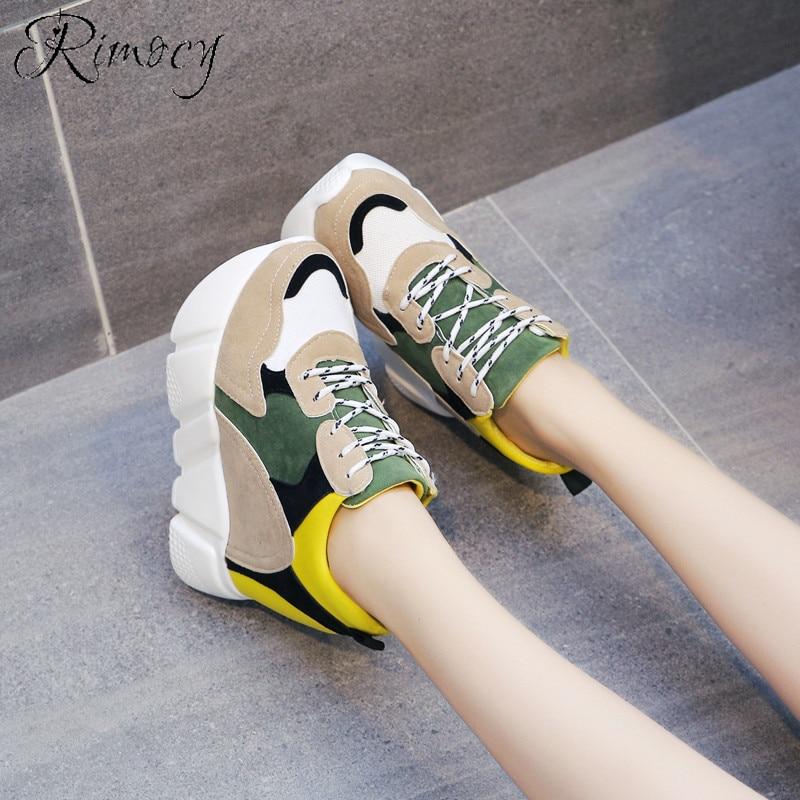 Hiver Plate jaune Plein Caché En forme Femmes bleu À Hauts Mode Épais Sneakers Automne Talons Vulcaniser De Femme Noir Rimocy Chaussures Air Casual CFSwfggq